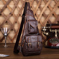 Men's Genuine Leather Vintage Belt Buckle Shoulder Messenger Unbalance Sling Chest Bag