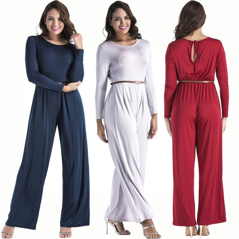 Women's long sleeve wide leg full-color jumpsuit