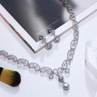 Nice Design Women Jewelry Sets White Color W CZ Stone Necklace Earring Set Wedding Party Gift