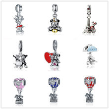 Neastamor alloy Pendant Beads Charms Mickey Mouse Love Fit Original Pandora Beads Bracelets For Women Charm DIY Jewelry Gift(China)
