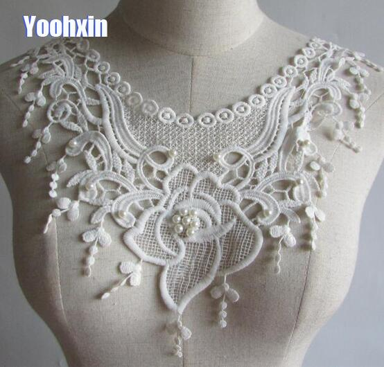Modern White Beads Flower Cotton 3D Embroidery DIY Lace Collar Fabric Sewing Applique Ribbon Trim Neckline Guipure Wedding Decor