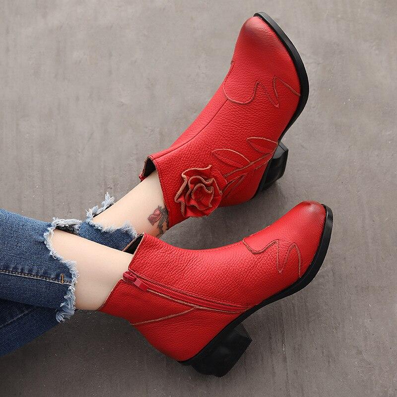 Zxryxgs Negro A Flor Mano Otoño Nuevo Plus Botas Marca black Hechas 2018 rojo De Las red E Vaca Velvet Retro Elegante Velvet Cuero Invierno Mujeres Zapatos Piel RaREwrq