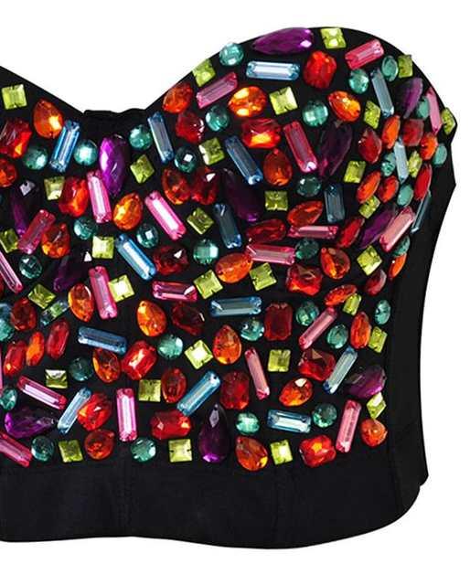 9a63352486 placeholder Plus Size Bralette Bustier Bra Push Up Rainbow Gem Stud Bras  For Women Burlesque Club Dancewear