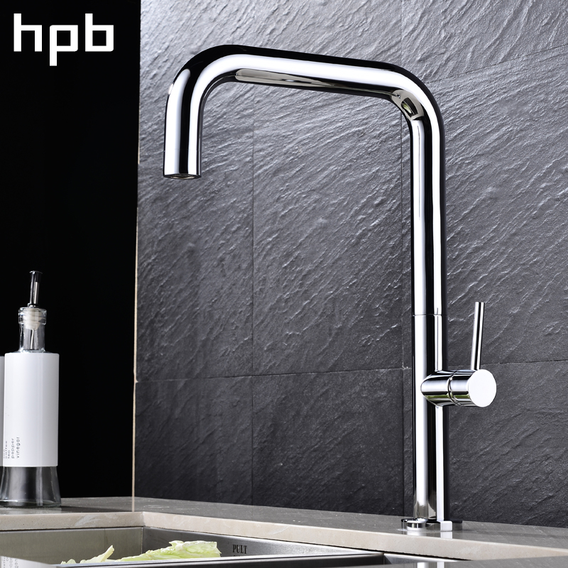 HPB Brass Chrome Rotatable Sink Faucet Kitchen Single Handle Mixer Tap Deck Mounted Hot And Cold Water Modern Style HP4013