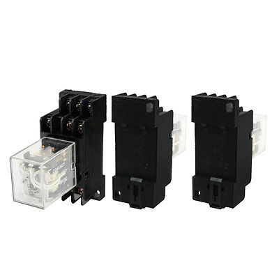 3Pcs DC24V Coil 3PDT 11Pin DIN Rail Electomagnetic Relay w Socket  Free Shipping 3pcs dc24v coil 3pdt 11pin din rail electomagnetic relay w socket free shipping