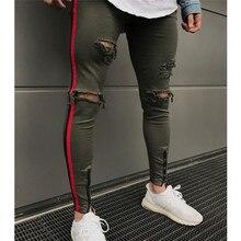 New Men Jeans Side Red Stripe Biker Jeans Denim Ripped Holes Slim Supper Skinny Hip Hop Jeans Men Moletom Masculino Plus Size цена