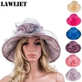 Women Dress Church Wedding Kentucky Derby Wide Brim Feather Sun Floppy HatA338