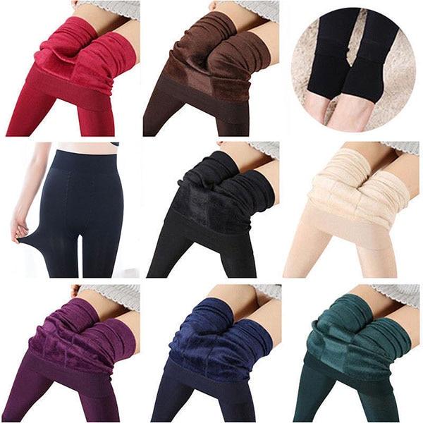 Wholesale Women Heat Fleece Candy Colors Winter Stretchy Leggings Warm Fleece Lined Slim Thermal Pants KA-BEST