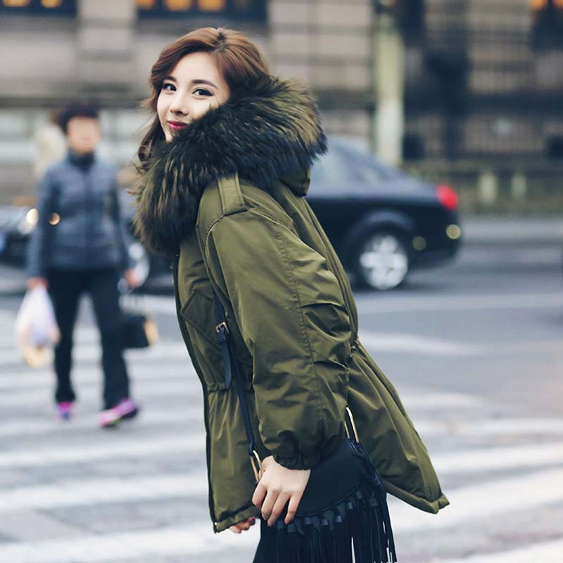 Winter Jacket   Coat   Women 2018 Natural Real Big Raccoon Fur Collar Hooded Outerwear Parka 90% White Duck   Down   Jackets Army Green