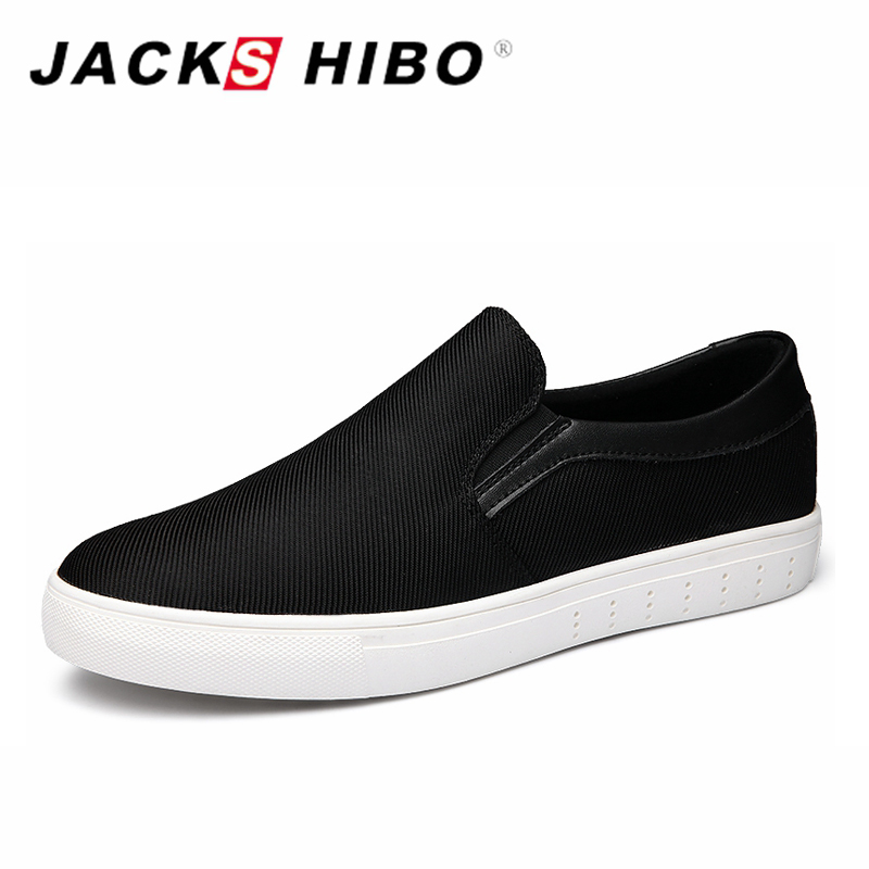 ФОТО JACKSHIBO 2017 Brand Mens Slipony Canvas Shoes Black Solid Male Loafers Chaussures Hommes Spring Sunmmer Man Casual Boat Shoes