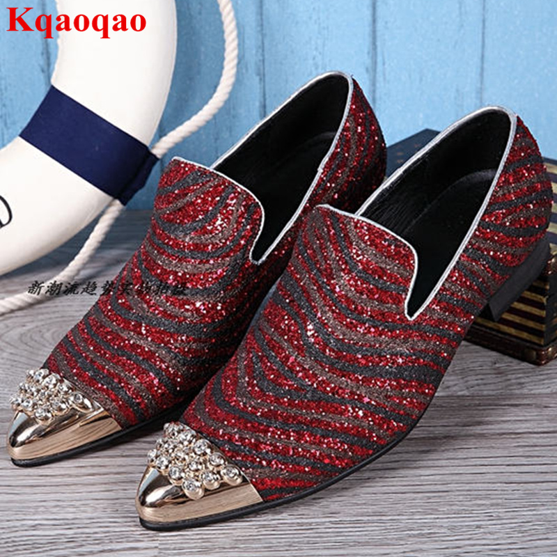 Crystal Embellished Metal Pointed Toe Low Top Slip On Shoes Heel Party Nightclub Men Shoes Loafers Sequined Cloth Strip Pattern spring newest flat shoes 2017 pointed toe crystal embellished woman shoes slip on casual shoes gold rhinestones loafers