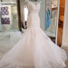 LS17006 Sexy mermaid wedding dress see through back cap sleeves tulle lace wedding gowns 2017 robe
