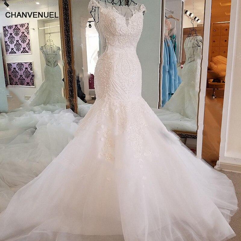 LS17006 Sexy robe de mariée sirène voir à travers le dos mancherons tulle robes de mariée en dentelle 2017 robe de mariee sirene