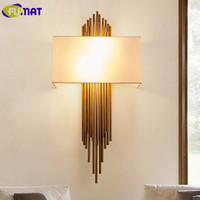 FUMAF Metal Copper Pipe Wall Lamps Modern Bedroom Bedside Lamps Wall Lights For Home Hotel Hallway Decorative Fabric Wall Sconce