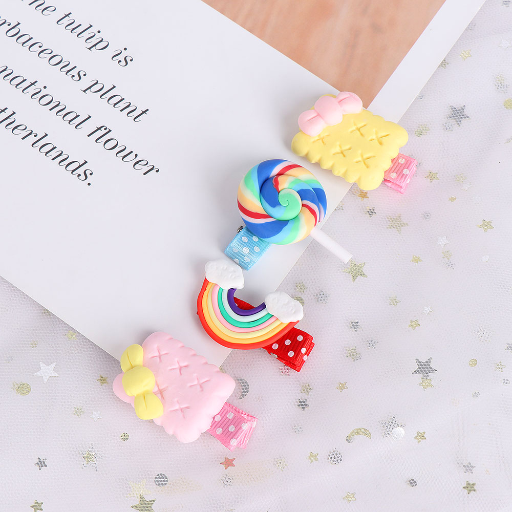 1 Pcs New cute baby girls hairpins polymer clay stereo cartoon candy hair clips`