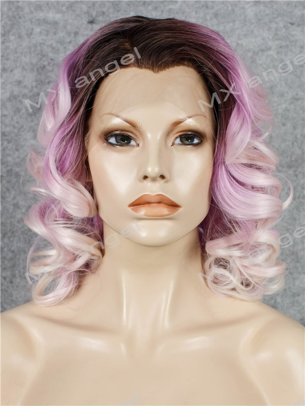 K19 16 Wavy Dark Root To Light Purple Pink Ombre Color Synthetic Lace Front Wig Heat Resistant Heavy Density kanekalon Lady Wig k19 16inch wavy purple gradient light