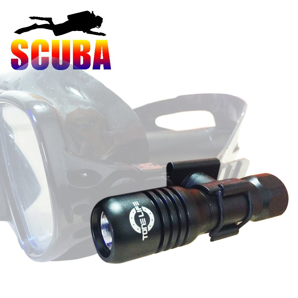 Tonelife 150M Mini Diving Mask Light Scuba Back up Torch Attach On Mask 570lumens Adjustable 360