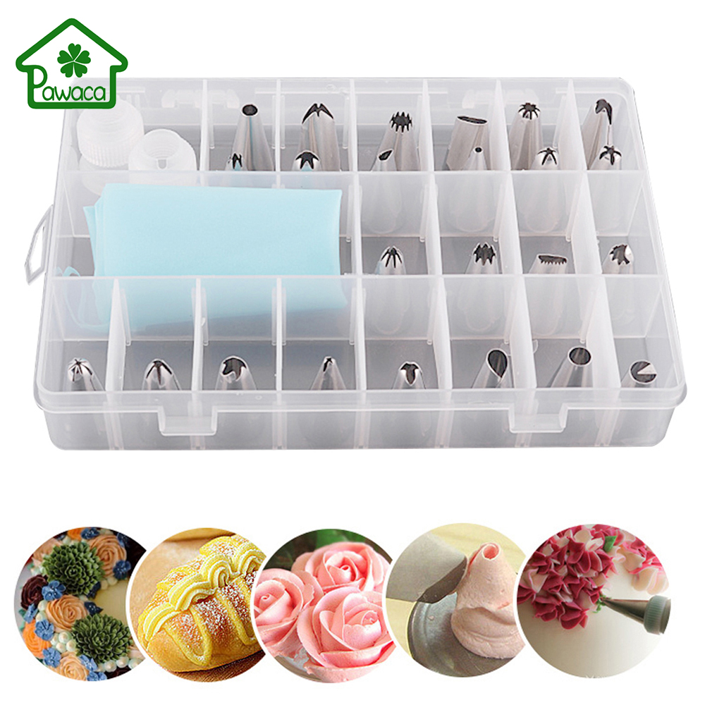 27Pcs Set Dessert Decorators Silicone Icing Piping Cream Pastry Bag 24 Stainless Steel Nozzle Set DIY Cake Decorating Tips