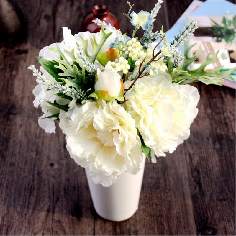 6 Heads Home Decor White Artificial Peony Silk Rose Flower Bouquet Leaf Party Wedding Garden Decor Decorative Hydrangea Flowers