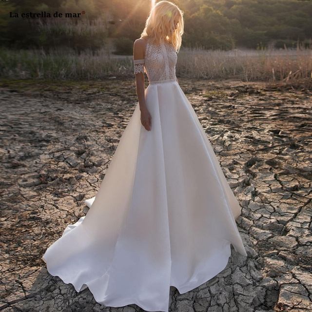 Vestido de noiva2020 nouveau O cou dentelle satin une ligne ivoire plage boho robe de mariée queue suknia slubna gelinlik casamento