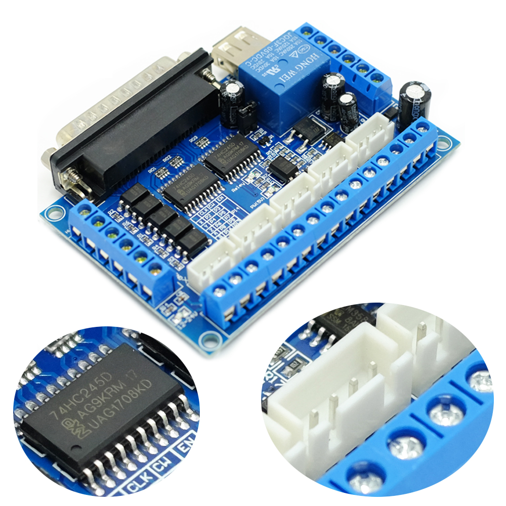 5 Axis CNC Breakout Board Interface USB Cable 25 Pins Cable for Stepper Driver MACH3 CNC Router Board Parallel Port Control in Motor Driver from Home Improvement