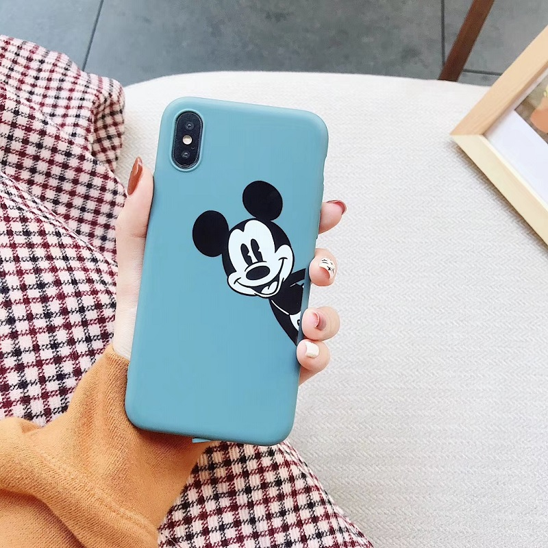 Pink Matte phone cases for iphone X XR XS Max Cartoon Mickey Soft TPU case For iphone 6 6s 6plus 7plus 8 plus back cover in Fitted Cases from Cellphones Telecommunications