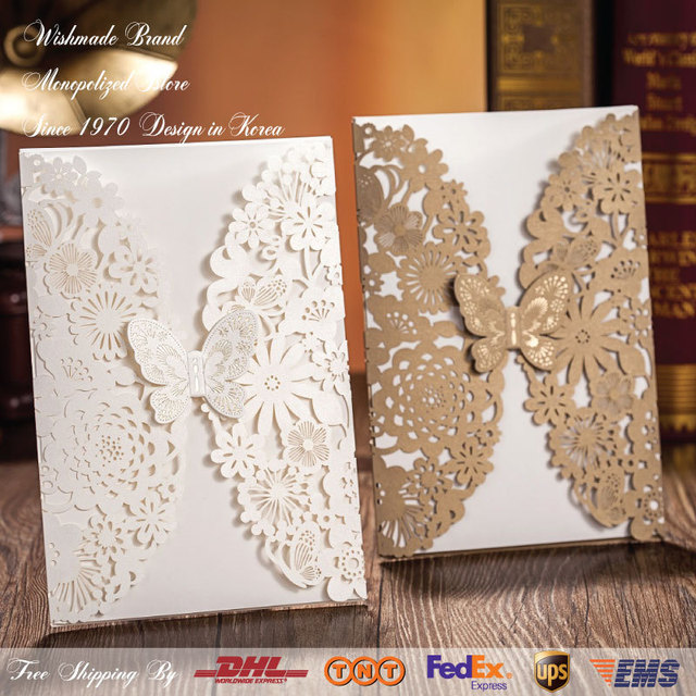WishMade hollow Butterfly white Wedding Invitations cards ...