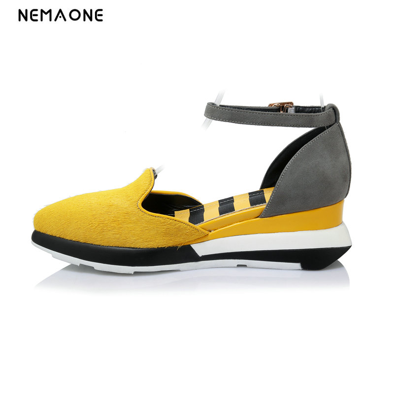 NEMAONE Sexy Open toe yellow Color Wedges Gladiator Sandals Women High Heels Platform Sandals Summer Women's Shoes Woman summer shoes woman platform sandals women soft leather casual open toe gladiator wedges women nurse shoes zapatos mujer size 8