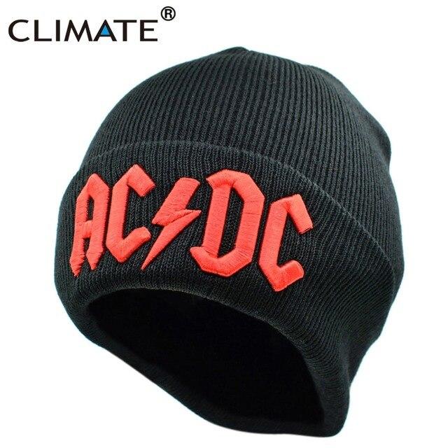 Климат Для мужчин Для женщин зима теплая Шапка-бини рок ACDC AC/DC рок-группа теплые зимние мягкие вязаные шапочки hat Кепки для взрослых Для мужчин Для женщин