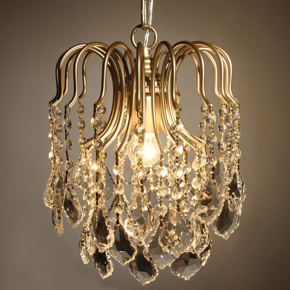 Modern LED Crystal Chandeliers Gold Iron Lamp Indoor Lighting Home Decoration Living Room Hotel Restaurant Coffee