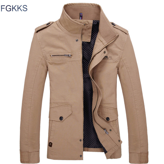 66d2d277006 FGKKS Men Jacket Coat Long Section Fashion Trench Coat New Spring Brand  Casual Silm Fit Overcoat Jacket Male Black Army