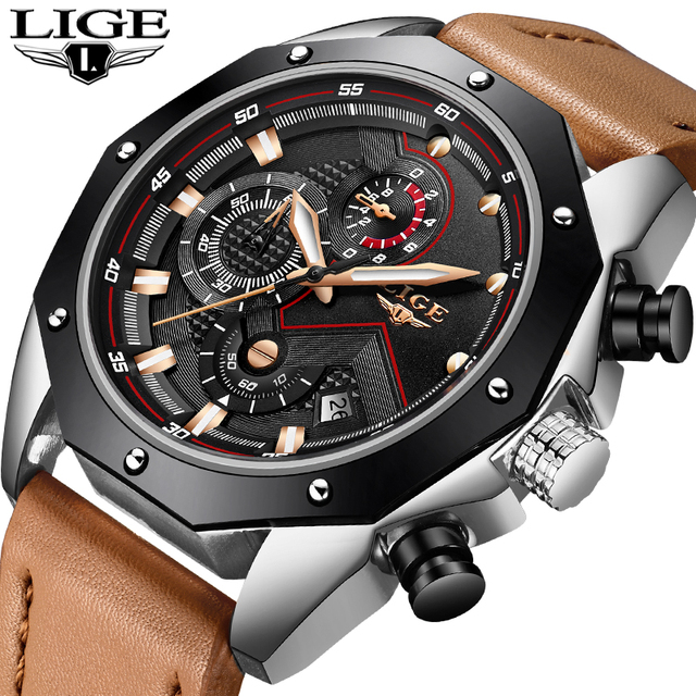 a3de3a87990 LIGE Men Watches Fashion Chronograph Luxury Leather Quartz Watch Men  Military Waterproof Sport WristWatch Male Relogio Masculino