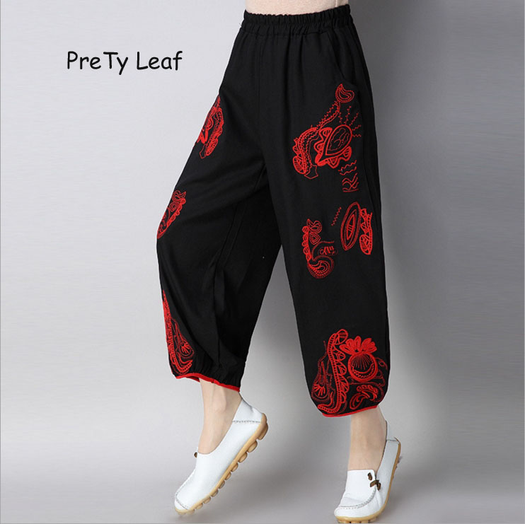 2018 Spring and summer cotton national wind embroidery   wide     leg     pants