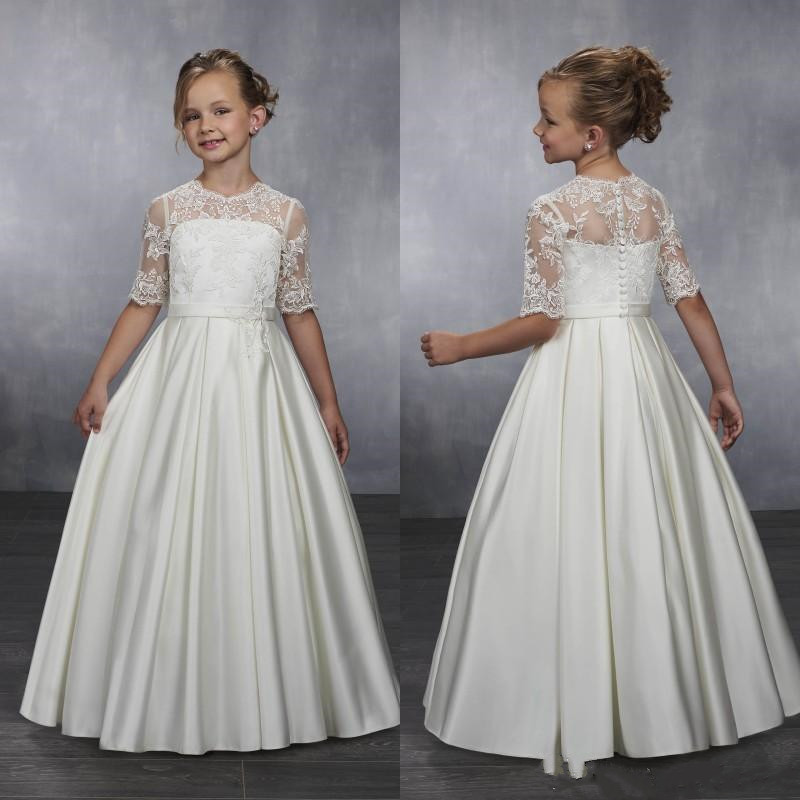 Classic   Flower     Girl     Dress   with Lace Top Buttons Half Sleeves Customized For Princess   Girls   Pageant Gowns Cheap Price Custom Made