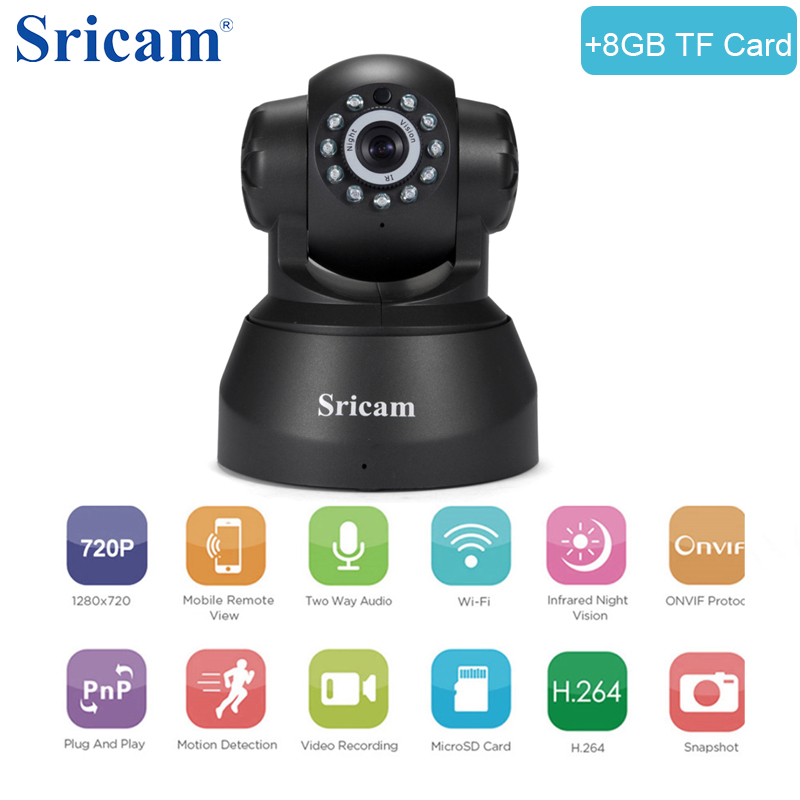 Sricam SP012 HD Wireless IP Camera Home Security Camera System Wifi Pan / Tilt Surveillance IPcam P2P Baby Monitor with TF Card wireless waterproof security camera system 2 4g long transmitter distance 4cameras dvr monitor up to 32g sd card wifi ipcam kits