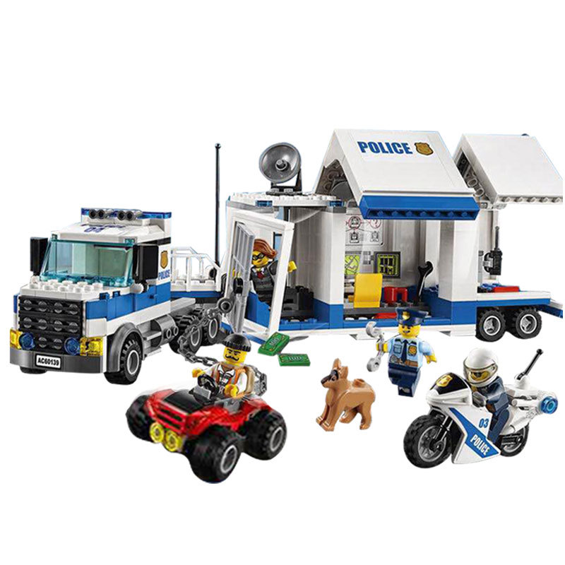 02017 LEPIN City Police Mobile Command Center Model Building Blocks Classic Enlighten Figure Toys For Children Compatible Legoe 1916 enlighten city water police station series plan breakout model building blocks figure toys for children compatible legoe