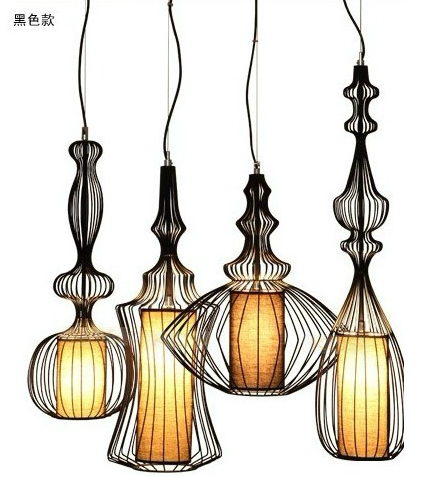 Chandelier new classical postmodern Nordic creative personality wrought iron pendant retro living room FG622