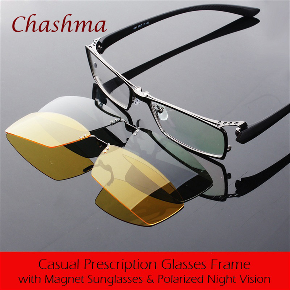 Chashma Brand Day and Night Polarized Glasses Herrer Prescription Eyewear Frame med 2 Klipp