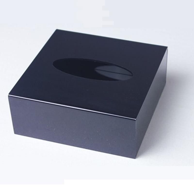 1 Набор Рождественский подарок высшего класса акриловая коробка для салфеток черный квадратный креативный водонепроницаемый простой европейский держатель для салфеток автомобильная коробка для салфеток - Цвет: Black