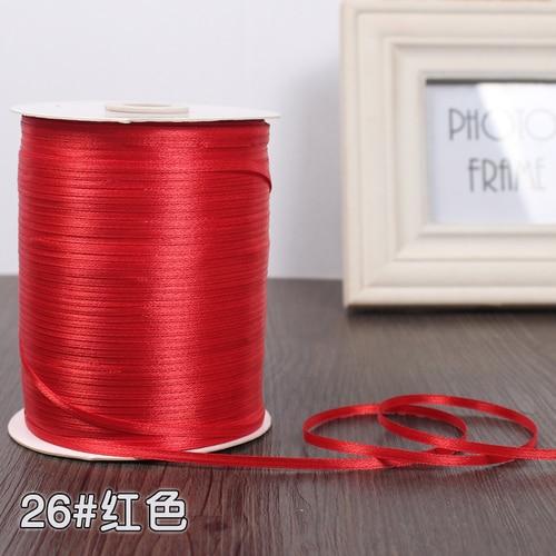 3 мм ширина бордовые атласные ленты 22 метра швейная ткань подарочная упаковка «сделай сам» ленты для свадебного украшения - Цвет: Red