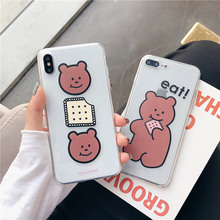Cookie bear transparent protective case for iphone7 8plus Biscuits candy bear soft cover for iphone 6 6s 8 7 plus x xr xs max 10 цена и фото