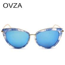 4242b43dd OVZA خمر النظارات الشمسية المرأة العلامة التجارية مصمم الأزياء القط العين  نظارات المعادن الكلاسيكية الإناث نظارات شمسية عاكسة عد.