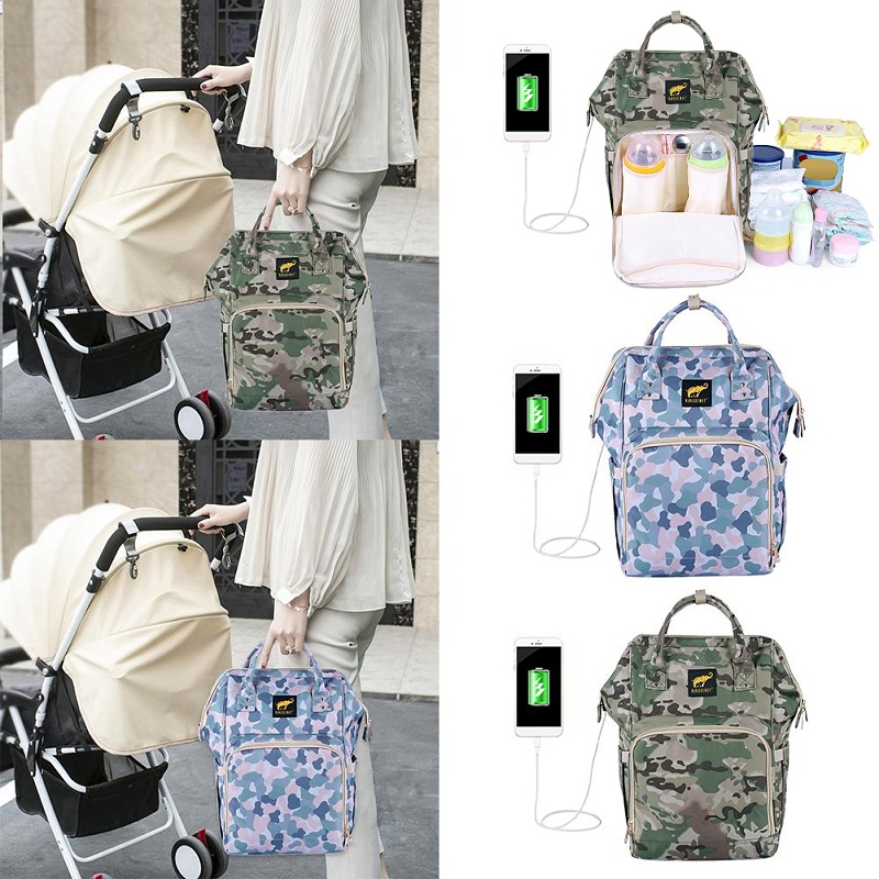 Camouflage USB Charging Mummy Diaper Bags Large Capacity Waterproof Travel Maternity Backpack Baby Nappy Nursing Bag  Organizer