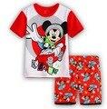 Розничные детские пижамы устанавливает детская одежда мальчики девочки пижамы пижамы микки минни девушки футболка шорты детей костюм