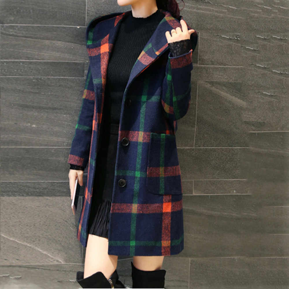 FeiTong Wool Blend Women Coat Fashion Long Sleeve Hooded Plaid Button Jacket Woollen Coat With Pocket 2019 wool Coats Female
