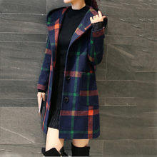 New Wool Blend Women Coat Fashion Long Sleeve Hooded Plaid Button Jacket Woollen Coat With Pocket 2019 wool Coats Female(China)