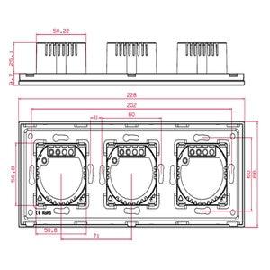 Image 4 - Bingoelec スマートトリプル 1 ギャング 2 ウェイ調光タッチスイッチ高級ガラスパネル EU 標準画面ライト壁の電気スイッチ