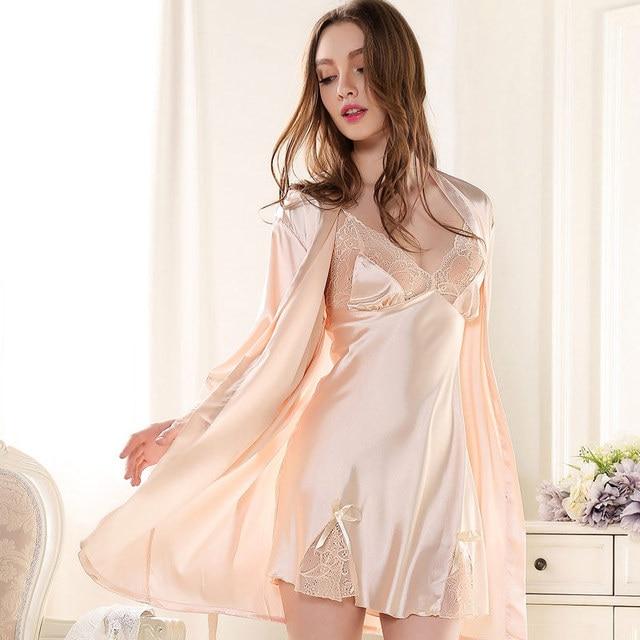 9afdfee3e6 Ladies Sexy Silk Lace V Neck Night Dress   Robes Sets Gown Sleepwear  Babydoll Pajama M
