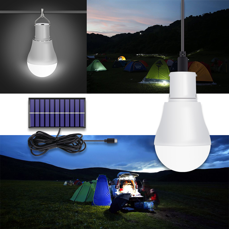 CanLing LED Solar Lamp 15W 250LM USB 5V Solar Power Light Portable Outdoor Camp Tent Fishing Bulb With Solar Panel Free Shipping in Solar Lamps from Lights Lighting