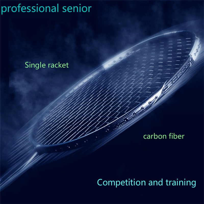 Professional senior badminton racket offensive 5U Match training super light carbon fiber 6U ball single battledore free LOGO professional offensive full carbon fiber badminton single racket super light 5u racquets with stringing and gift box q1256cmc